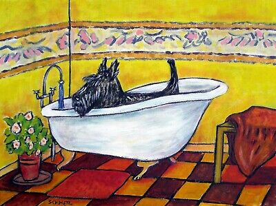 SCOTTISH  TERRIER TAKING A BATH  DOG wall art signed GLOSSY PRINT 13x19 JSCHMETZ