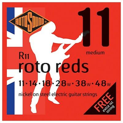 Rotosound Roto Reds Medium Electric Guitar Strings  11 - 48 With Free Extra E