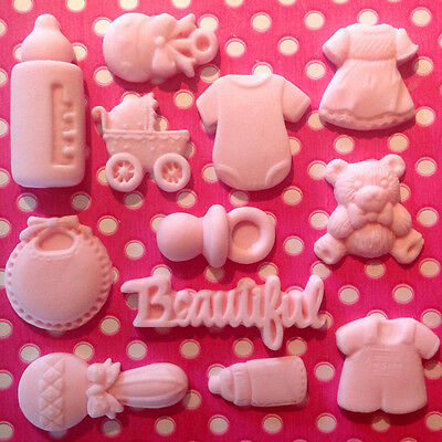 Edible BABY GIRL BOY SHOWER CHRISTENING pink Decoration Fondant Cupcake Toppers