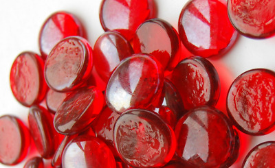RED ONLY Round Glass Pebbles Stones Nuggets Beads Button Lots Quantities NEW
