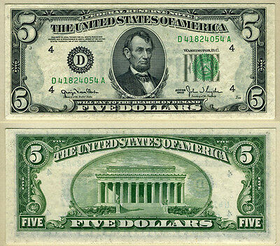 FR. 1961 D $5 1950 Federal Reserve Note Cleveland||Choice CU+