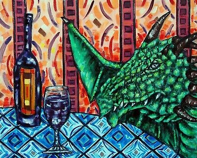 WINE art with a dragon  poster gift modern folk pop art 13x19 glossy photo GLOS
