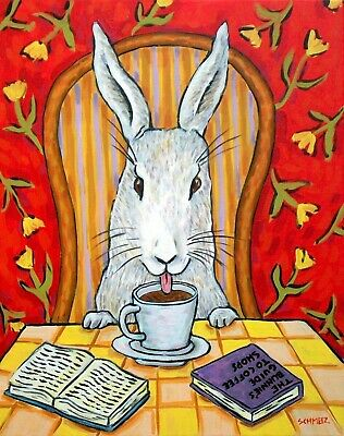 Bunny rabbit coffee PAINTING poster art  13x19 GLOSSY PRINT