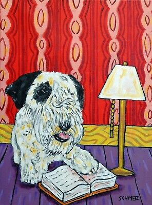SEALYHAM TERRIER DOG pet art  from painting 13x19  modern pop folk GLOSSY PRINT