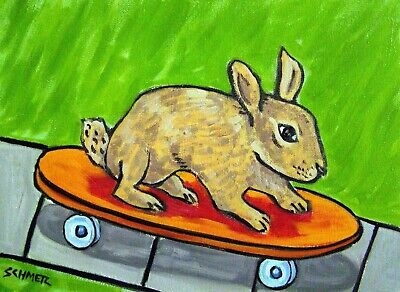 SKATEBOARD BUNNY 13x19 art  rabbit animal poster GLOSSY PRINT