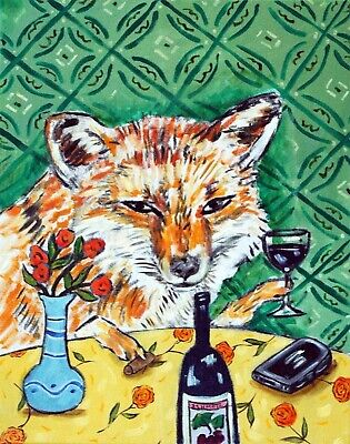 fox art 13x19  poster WINE art gift  modern  folk pop  GLOSSY PRINT