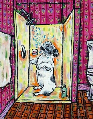 French BULLDOG fine art  bathroom  bather modern folk 13x19 dog GLOSSY PRINT