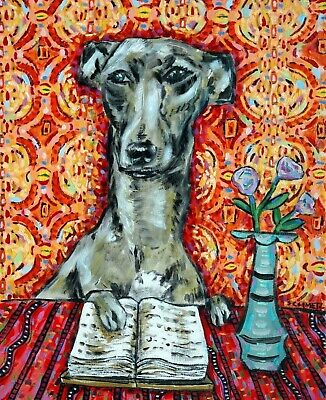 italian greyhound dog art  gift for librarian modern dog art  GLOSSY PRINT 13x19