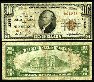 Coeur D Alene ID $10 1929 T-1 National Bank Note Ch #13288 First NB Fine