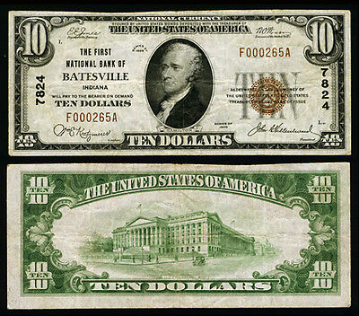 Batesville IN $10 1929 T-1 National Bank Note Ch #7824 First NB Very Fine