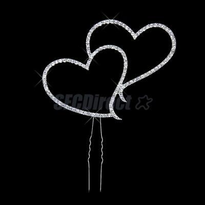 Wedding Cake Topper Rhinestone Diamante Double Heart Anniversary Party Decor