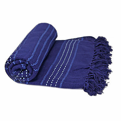 100% Cotton Woven Throw Over - Navy Blue Bedspread Bed Throw