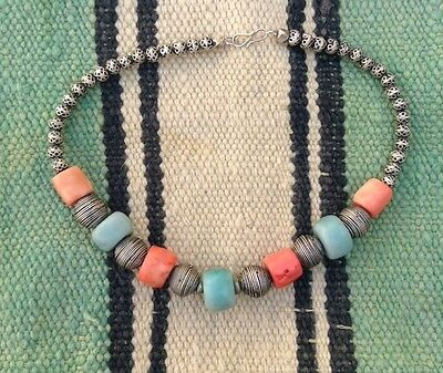 Moroccan Amazonite And Coral Necklace Silver Filigreed Beads And Niello