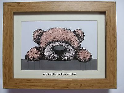 Personalised Framed Cute Bear Picture by artist.... Ideal gift