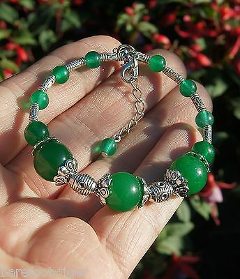 Barefoot Hippy Bracelet Translucent Green Jade Bead and Silver Plate