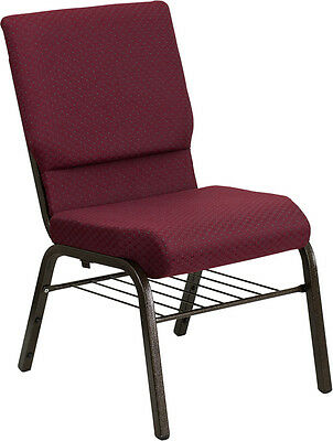 18.5''W Burgundy Patterned Fabric Church Chair, Book Rack - - Gold Vein Frame