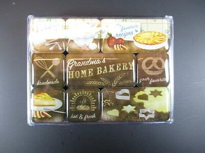 Magnet Set 9 tlg. Home Bakery Bäckerei,in Poly Box,Nostalgie Set,NEU