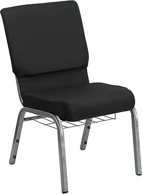18.5''W Black Fabric Church Chair, Book Rack - Silver Vein Frame