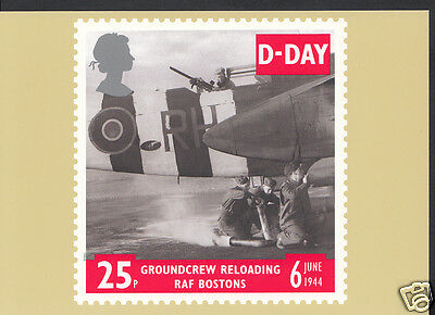 Postal Stamps Postcard - D-Day - Groundcrew Reloading RAF Bostons  WC87