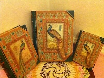 LOT Of 3 Green Peacock Gold Storage Punch Studio Stacking Book Box 3PC Set 54089