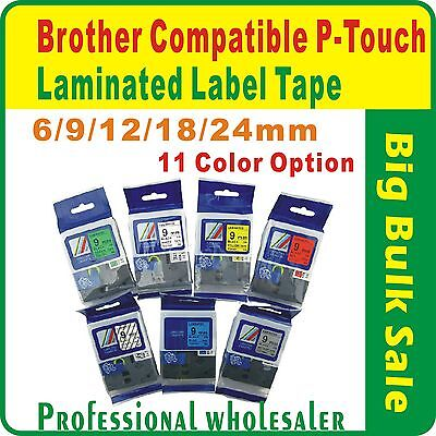 Brother P-Touch Compatible Laminated Label Tape 6/9/12/18/24mm More Color Option