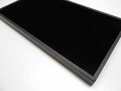 """14"""" x 7.5"""" Black Velvet Velour Felt Jewelry Pad & Tray for Jewelry and Coins"""