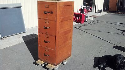 *VINTAGE GLOBE-WERNICKE FILE CABINET 4 DRAWER LEGAL OAK We Deliver Locally NorCA