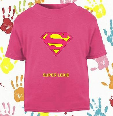 Baby's Girls Super Girl Super Woman Personalised Novelty T Shirt  Perfect Gift