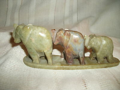 Soap stone craved Elephants three in a row