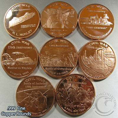 """Civil War"" Series of 7 Rounds 1oz .999 Copper Rounds Beautiful rounds"