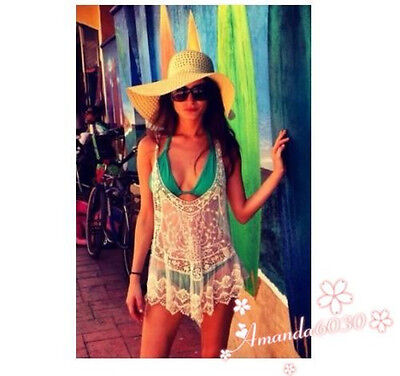 Women's Sexy Lace Crochet Hollow Sleeveless Swimwear Bikini Cover Up Beach Dress