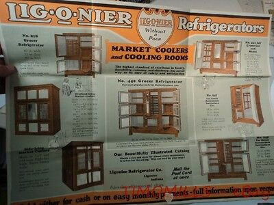 c.1924 LIGONIER Refrigerator Display Case Catalog Brochure Poster Vintage BIG VG