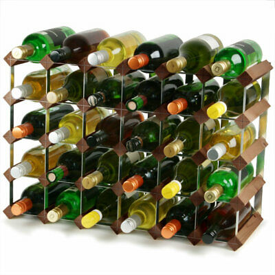 | Wine Bottle Rack 2x4 Hole Traditional Wooden Wine Rack Dark Oak 12 Bottles