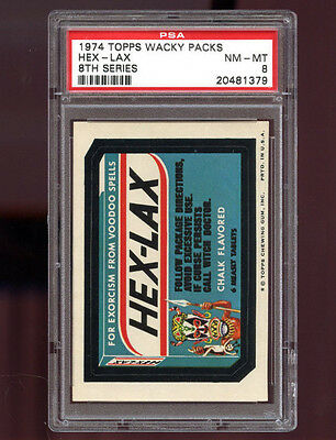 1974 Wacky Packages Pack Hex-Lax HexLax 8th Series PSA 8 NM-MT Graded Card
