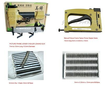 Picture Frame V nailer + Picture Frame Manual Tacker + 10mm V nails + 15mm pins