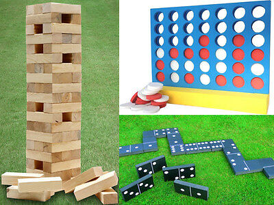 Outdoor Garden Games 4 In A Row/jenga Tower Block/dominoes Large Family Fun Kids