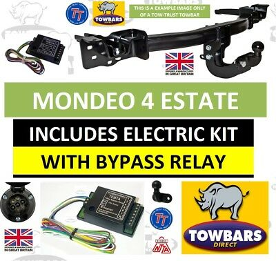 Flange Towbar for Ford Mondeo Estate Est MK4 2007 to late 2014 with Bypass Relay