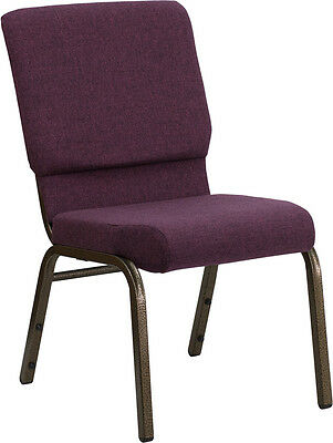 18.5'' Wide Plum Fabric Stacking Church Chair  - Gold Vein Frame