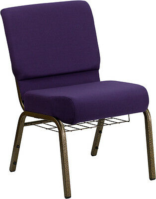 21'' Wide Purple Fabric Church Chair Communion Cup Book Rack Gold Vein Frame