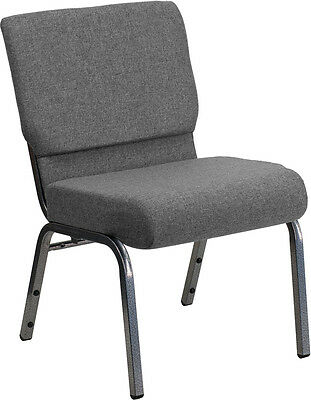 21'' Extra Wide Gray Stacking Church Chair - Silver Vein Frame
