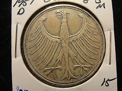 1951 D Germany 5 Five Mark Silver Coin #2010