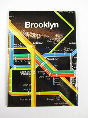 New York City Brooklyn Subway U-Bahn Diagram black Souvenir Magnet,9 cm