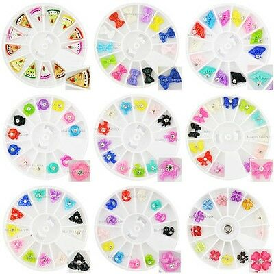 BF 3D Fan Cake Slices Bow Tie Manicure Nail Art Fimo Decoration Set of 9 #597ALL