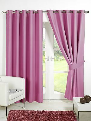 Pink Supersoft  BLACKOUT Thermal Curtains in Ring Top / Eyelet  + Free Tiebacks