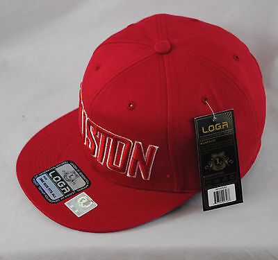 LOGA Embroidered Houston Red Baseball Cap Tonal Snapback Flat Peak Hat