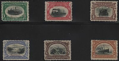 #294-299S-E F-Vf Og Lh 1901 Pan-Am W/ Purple Specimen Ovpt Very Scarce Wl5897