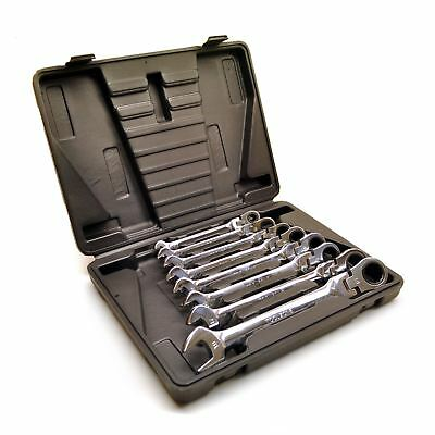 8pc Flexible Combination Ratchet Spanner Wrench Set Metric 8mm-19mm TE495