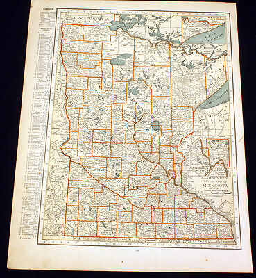 Antique Map Minnesota or Wisconsin 1922