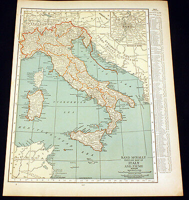 Antique Map Italy Fiume or Greece Turkey Albania 1922