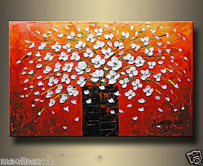 MODERN ABSTRACT ART OIL PAINTING -Blooming flowers No Frameless